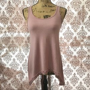 Tops - Dusty pink cotton racer back high low tunic.